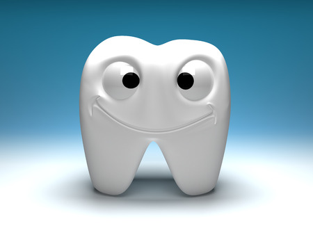 Happy healthy tooth, a fun and smiling. Big eyes, big smile photo