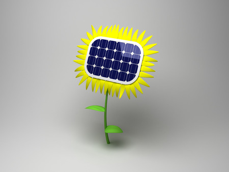 Sunflower, as a solar panel  The concept of solar energy  photo