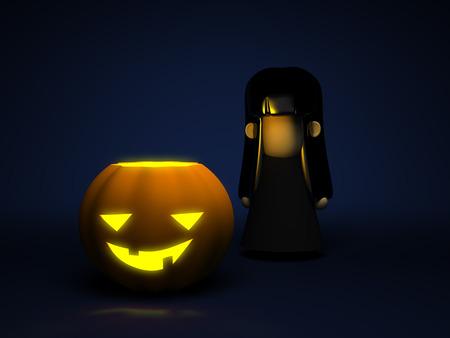evil girl: Pumpkin and little girl in a black dress, with black hair, dark-blue background