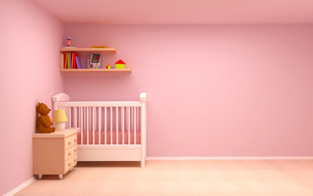 baby s: Baby s bedroom with commode and bear  Pastel colors, empty room