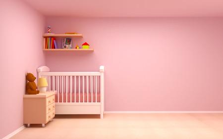 Baby s slaapkamer met commode en beer Pastel kleuren, lege kamer Stockfoto - 26624729
