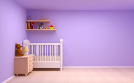 Baby s slaapkamer met commode en beer Pastel kleuren, lege kamer