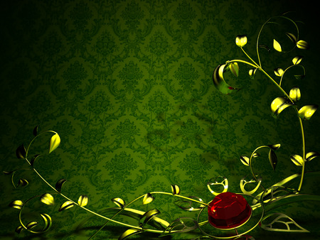 Gold floral design on a background of vintage green wallpaper  Gold flower photo