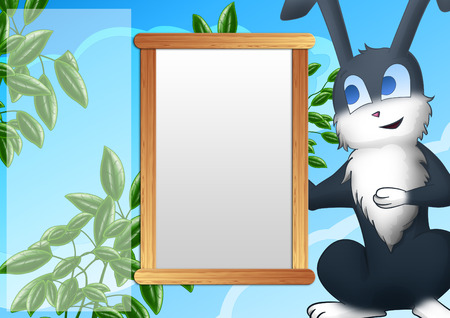 Background with photo frame and a smiling gray rabbit  Sky, clouds, green bushes photo