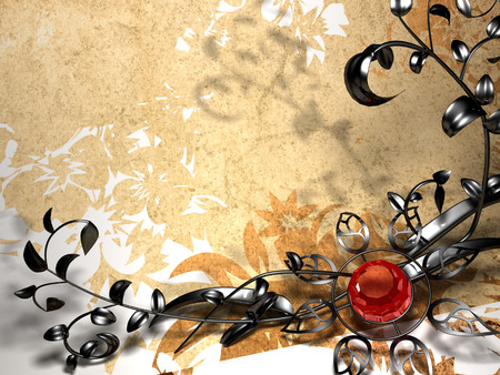 Metallic floral design on a background of brown flowers  Metal flower photo