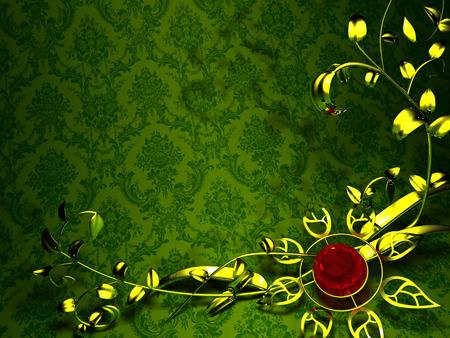 groen behang: Gouden bloemen ontwerp op een achtergrond van vintage groene behang Gold bloem