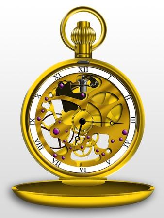 pocketwatch: Gold pocket watch on a white background Stock Photo
