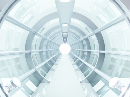 tunnel view: Futuristic tunnel of steel and metal, interior view  Futuristic background, business concept
