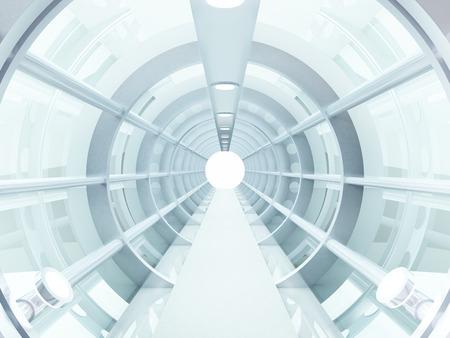 Futuristische tunnel van staal en metaal, interieur bekijken Futuristische achtergrond, business concept Stockfoto