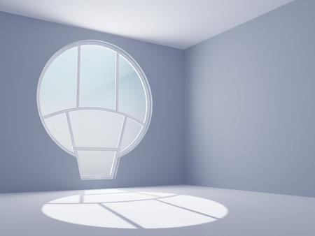 3d render of empty room with round window photo