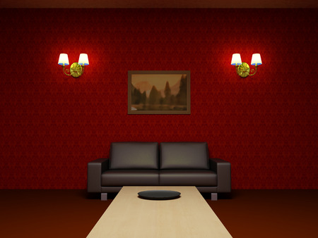 Red interior. Living room, black leather sofa, wooden low table, sconces on the walls, red wallpaper photo