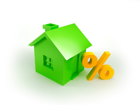 Symbol discounts on real estate  Green house and percent sign photo