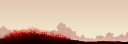 red grass: Tranquil red swamp landscape background. Red grass on a background of beige sky with clouds Stock Photo