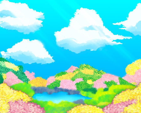 fairyland: A wonderful fairy-tale landscape fairyland. Hills covered with multicolored flowers and sky with clouds