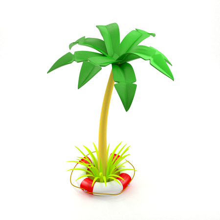 Palm tree growing in a lifebuoy, floating in the water. 3d image. Concept of safe travel