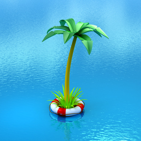 safe water: Palm tree growing in a lifebuoy, floating in the water. 3d image. Concept of safe travel