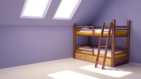 Kamer kind met een two-tier bed op de zolder, lege muur
