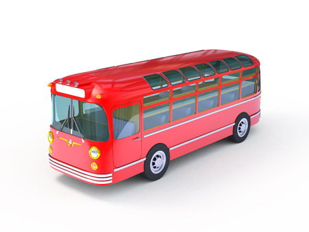 Retro red bus on a white background. 3D Image