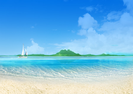 Marine landscape with sailing boat, white sand beach and blue sky. Tranquil scene