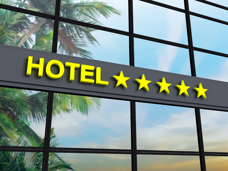 luxury hotel room: Detail of a five stars hotel with reflecting sky and palm trees Stock Photo
