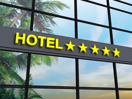 Detail van een vijf sterren hotel met reflecterende hemel en palmbomen