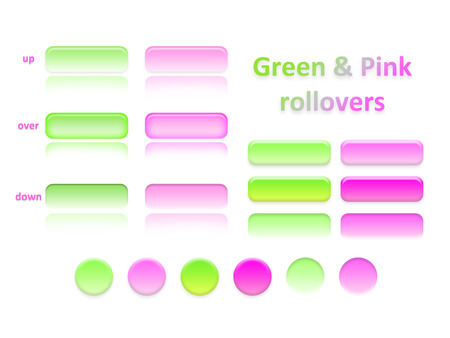 subdued: computer icons from the bright colored, pink and green glass on a white background