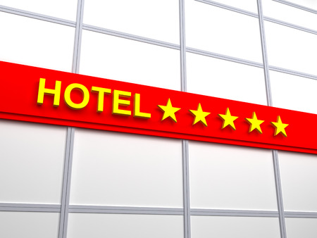 Detail of a five stars hotel. Red signboard with gold letters photo