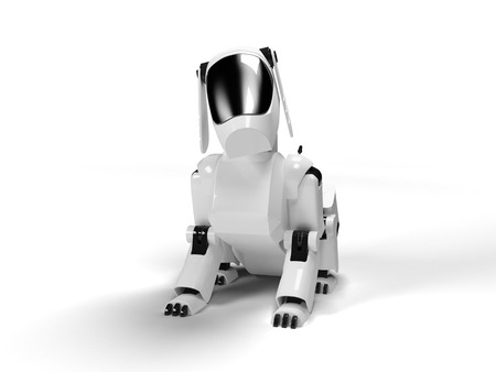 crouch: Sitting robot dog from the white plastic on a white background Stock Photo