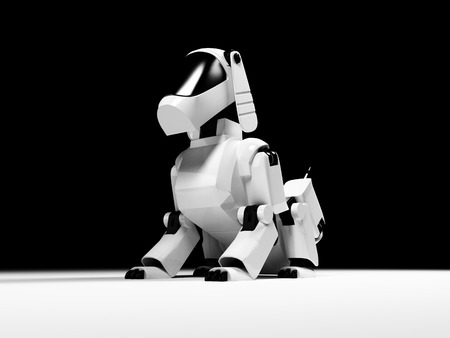 Sitting robot dog from the white plastic on a black background photo
