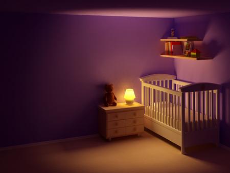 Babykamer met commode en beer 's nachts. Lege ruimte, nachtopname