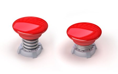 3d image of red button with spring. White background. photo