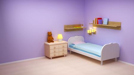 Babykamer met commode en beer. Pastel kleuren, lege kamer