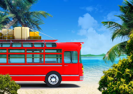 Red retro bus against the backdrop of beach photo
