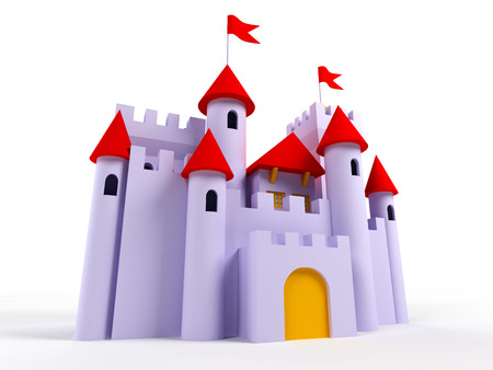 chateau: 3d castle on a white background. Cute, purple with red roofs and flags Stock Photo