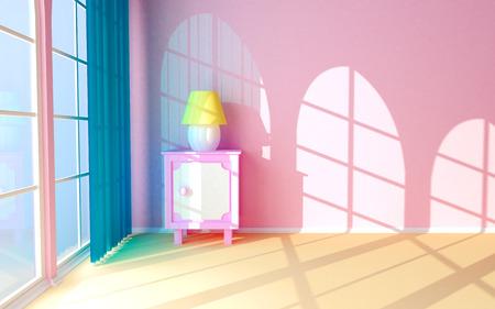 De roze nachtkastje aan de muur, raam en gordijn Het licht van de ramen valt op de muur