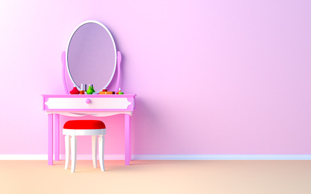 Pink make up table at the wall in the girl photo