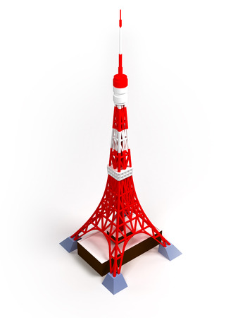 Tokyo tower on a white background, 3d image Zdjęcie Seryjne - 26772329