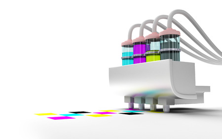 Concept cmyk model. Print cartridge with ink in glass bottles on a white background