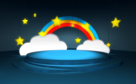 theater background: Stage with the scenery in a childrens style, at night. Glowing clouds, stars, rainbows and blue skies.