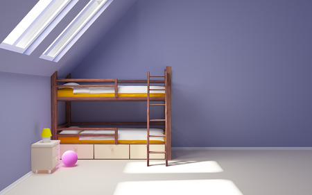 Child room with a two-tier bed in the attic, empty wall photo