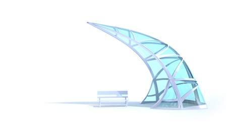 corporate building: Futuristic arch of steel and glass hanging over the bench on a white background
