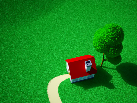 3d cartoon landscape, a house on a green field and hills. Isometric photo