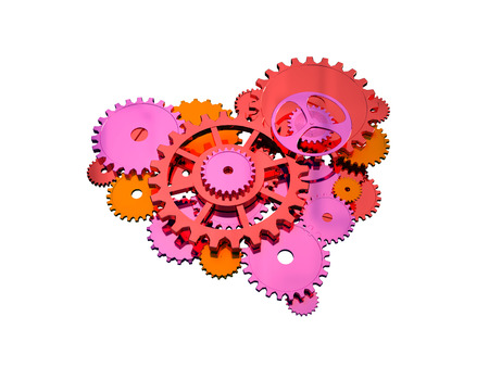 Mechanical heart. Gears of different shades of red, are laid out in a heart shape.