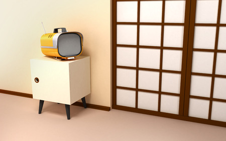nightstand: Japanese retro interior. Beige wall, laterally nightstand with a retro TV. Backdrop