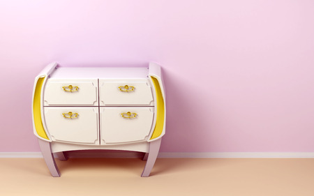 highboy: White chest of drawers in a mixed style, classic and futuristic Stock Photo