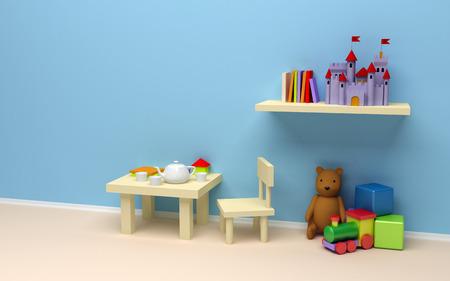 jugar: Habitación de los niños s con juguetes una pared en blanco, una mesa con café y libros, el castillo en el estante, oso de peluche, tren y cubos