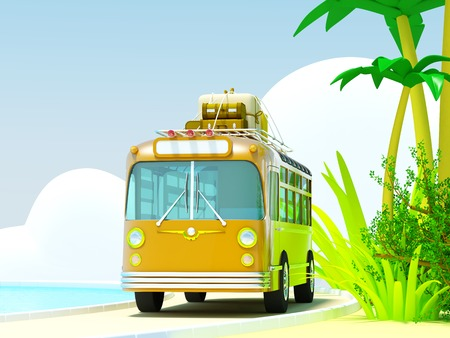 touring car: The bus traveling on a tropical beach, roof bags and boxes. The sea and clouds. 3d picture in bright cartoon style.