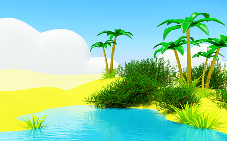 desert oasis: Oasis in the desert landscape with a blue pond