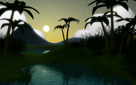 Cartoon 3d tropical jungle landscape with water and the mountains at night. photo