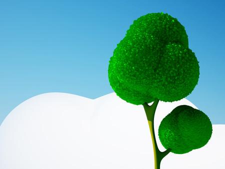 arboles de caricatura: Árbol de dibujos animados en 3D y el cielo azul con nubes